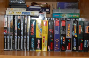 Cabinet A : Saturn and Super Nintendo games