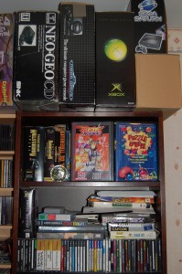 Cabinet B : consoles boxes of Neo Geo CD, Megadrive and XBOX and PC/MVS/Saturn games