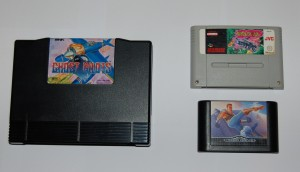 3 cartridges : Neo Geo (AES), Super Nintendo and Megadrive